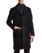 Etro Men's Easy Solid/Plaid Patchwork Overcoat