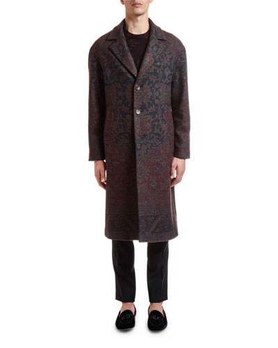 Men's Damask Floral Print Wool Coat