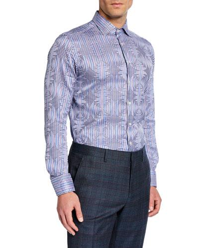 Men's Geometric Jacquard Sport Shirt
