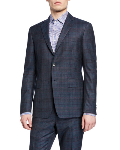 Men's Two-Piece Glen Plaid Wool Suit with Silk lining