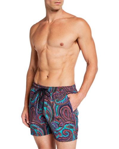 Men's Paisley-Print Swim Trunks