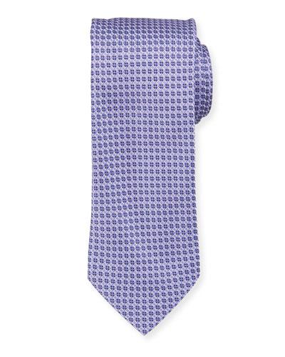 Neat Pattern Silk Tie, Purple