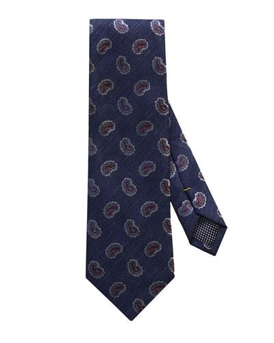 Men's Silk-Linen Paisley Tie
