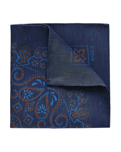 Men's Linen-Silk Paisley Pocket Square