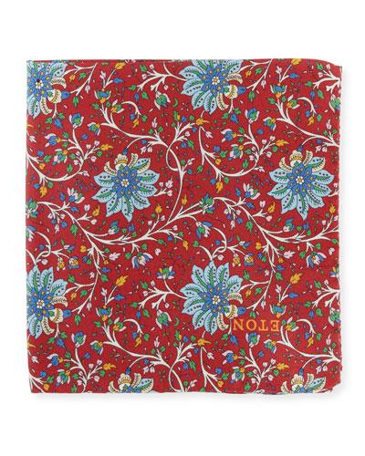 Men's Paisley Silk Pocket Square, Red