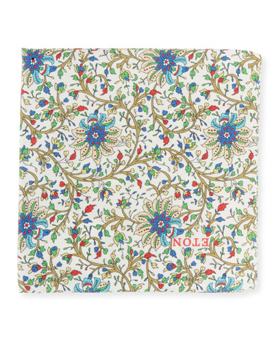 Men's Paisley Silk Pocket Square, Ivory