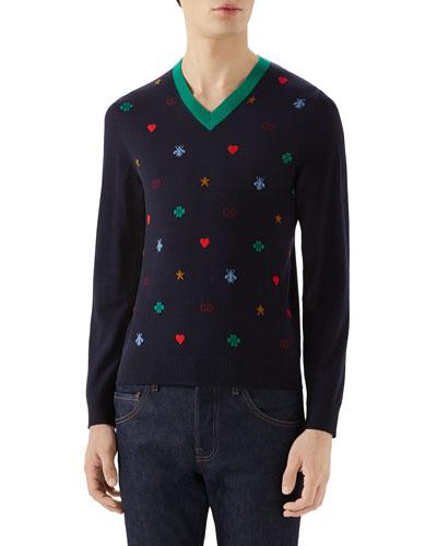 Men's Multi-Emblems V-Neck Sweater