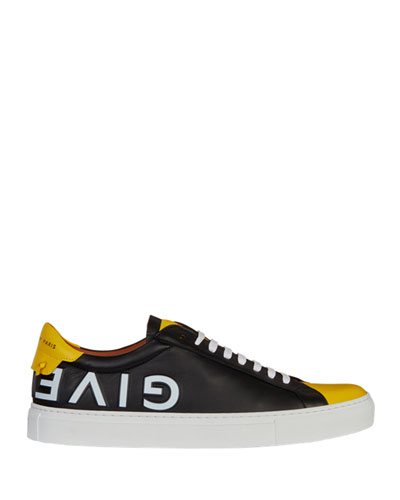 Men's Urban Street Logo Leather Low-Top Sneakers