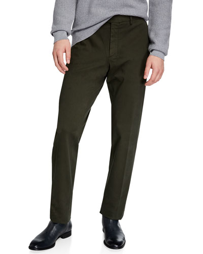 Men's Garment-Dyed Tab Twill Pants, Dark Green