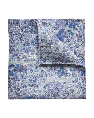 Men's Floral-Print Pocket Square