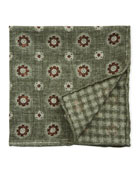 Brunello Cucinelli Men's Floral-Houndstooth Reversible Pocket Square