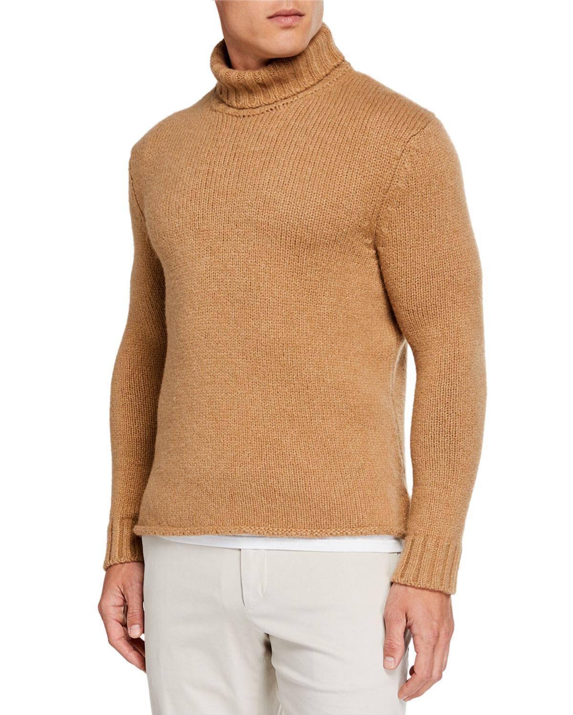 Ermenegildo Zegna Sweaters MEN'S CHUNKY CAMEL TURTLENECK SWEATER