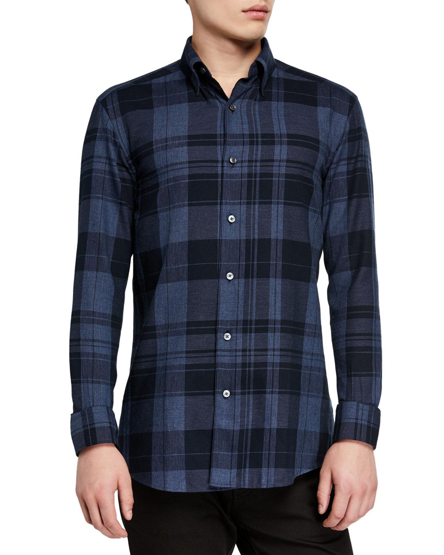 Ermenegildo Zegna T-shirts MEN'S LARGE PLAID WASHED SPORT SHIRT