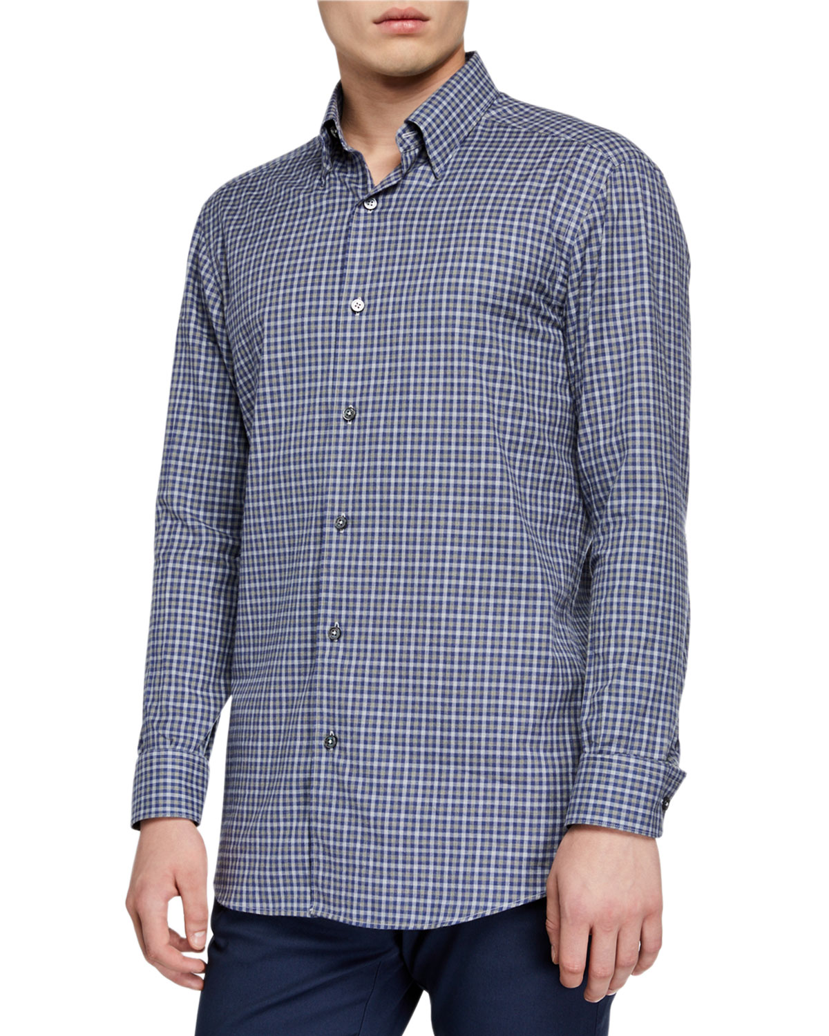 Ermenegildo Zegna T-shirts MEN'S SMALL CHECK SPORT SHIRT