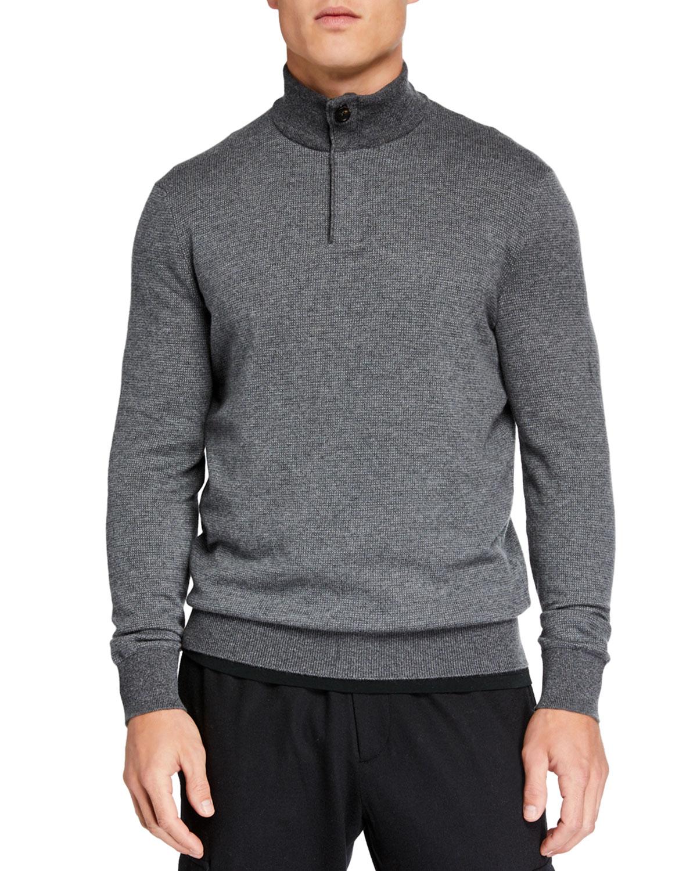 Ermenegildo Zegna Sweaters MEN'S TEXTURED QUARTER-ZIP SWEATER