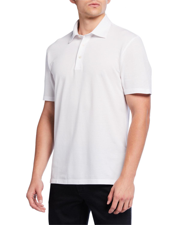 Ermenegildo Zegna T-shirts MEN'S PIQUE POLO SHIRT, WHITE