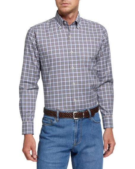 Peter Millar Men's Mini-Check Woven Sport Shirt