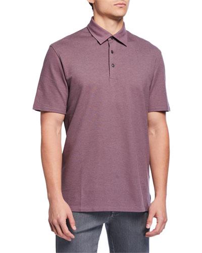 Men's Pique Polo Shirt, Dark Pink