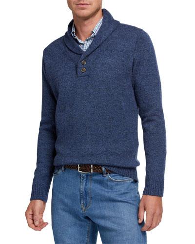 Men's Wool Button Shawl Sweater