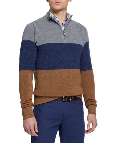 Men's Saddle Colorblock Wool Sweater