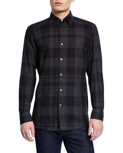 Men's Large Plaid Washed Regular-Fit Sport Shirt