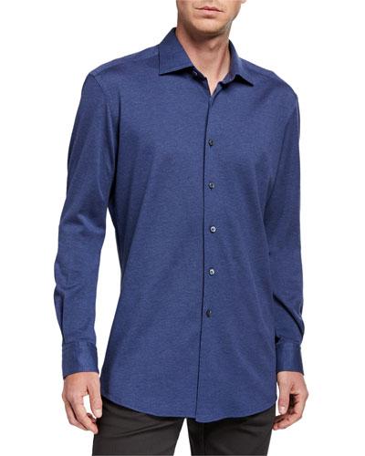 Men's Heathered Jersey Sport Shirt