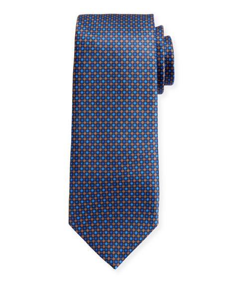 Canali Men's Sateen Printed Neat Silk Tie, Blue