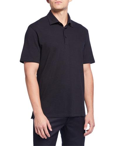 Men's Pique Polo Shirt, Navy/Black