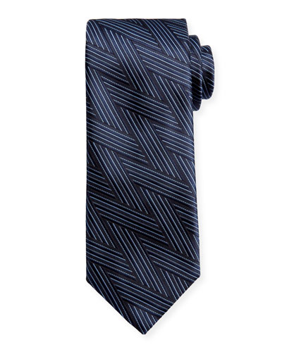 Art Deco Wrap-Pattern Silk Tie, Navy