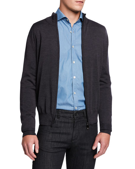 Canali Men's Solid Wool Zip-Front Cardigan Sweater
