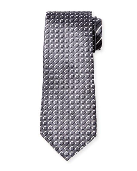 Giorgio Armani Men's Pattern-Stripe Silk Tie, Gray