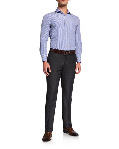 Kiton Men's Wool Flat-Front Dress Pants, Charcoal