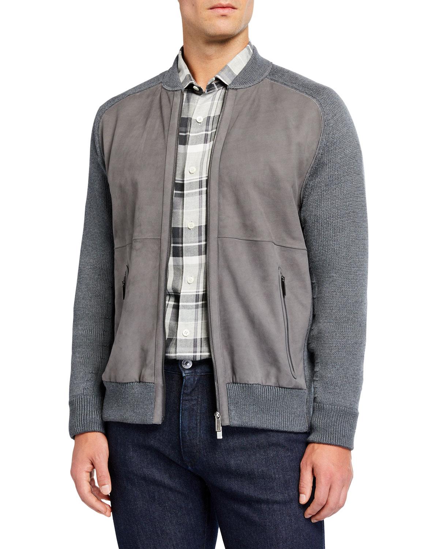 Ermenegildo Zegna Sweaters MEN'S HIGH-PERFORMANCE LEATHER/WOOL ZIP SWEATER