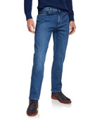 Ermenegildo Zegna Men's Light Washed Stretch-Denim Jeans
