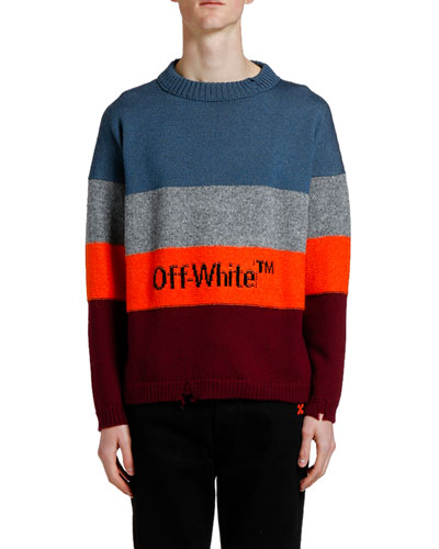Men's Bold Stripes Crewneck Sweater with Logo Typographic