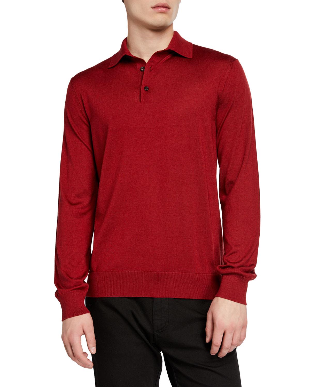 Ermenegildo Zegna T-shirts MEN'S CASHMERE-BLEND LONG-SLEEVE POLO SHIRT