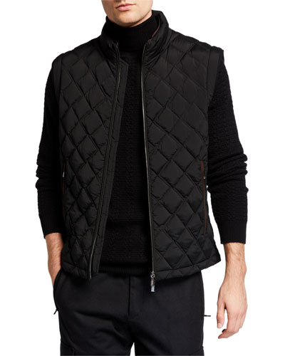 Men's Quilted Vest with Leather Trim