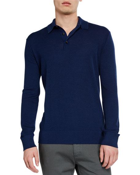 Ermenegildo Zegna Men's Cashmere-Blend Long-Sleeve Polo Shirt, Dark Blue