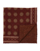 Brunello Cucinelli Deco Circles Wool Pocket Square