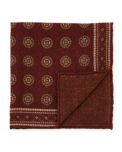 Deco Circles Wool Pocket Square