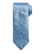 Canali Art Deco Wrap-Pattern Silk Tie, Light Blue