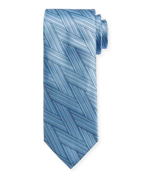Canali Art Deco Wrap-Pattern Silk Tie, Light Blue