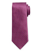 Canali Men's Sateen Printed Neat Silk Tie, Purple