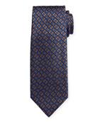 Canali Men's Deco-Inspired Neat Silk Tie, Blue