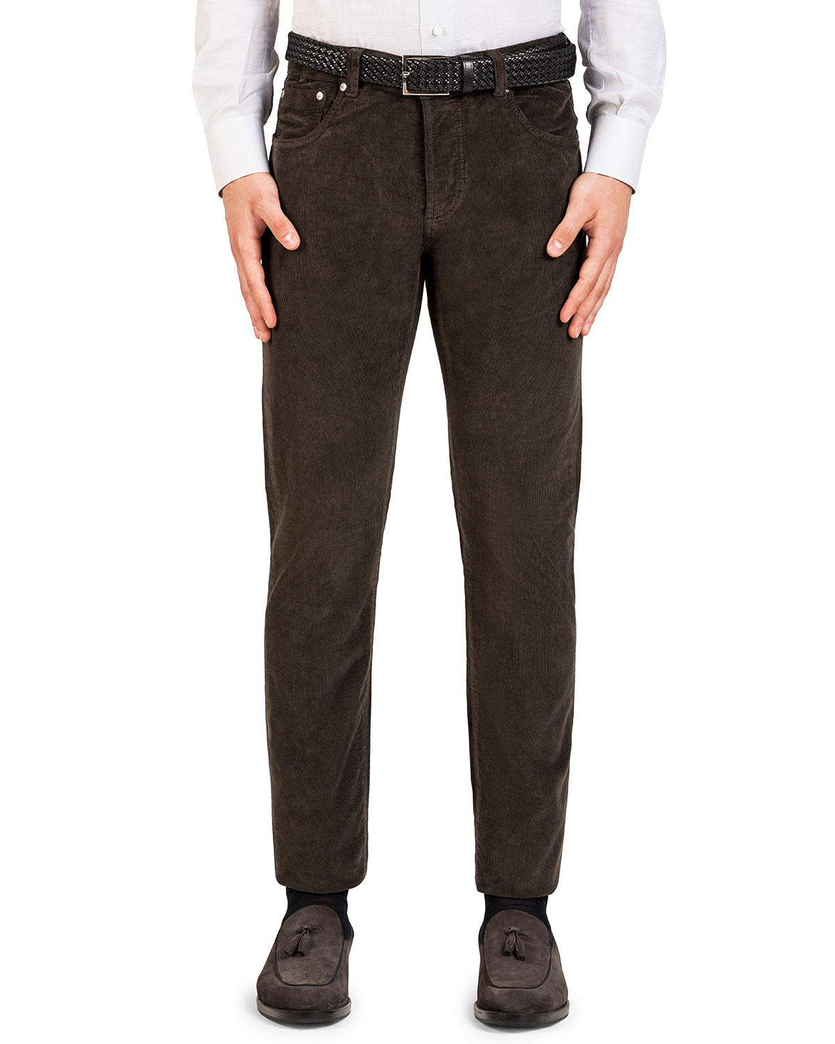 Isaia Pants MEN'S STRAIGHT-LEG 5-POCKET CORDUROY PANTS