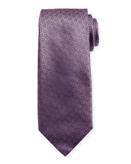 Canali Silk Cable Motif Tie, Pink