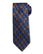 Canali Men's Silk Deco Circles Tie, Navy