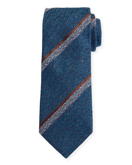 Canali Melange Stripe Silk-Wool Tie, Teal