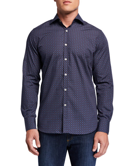 Canali Men's Medallion-Print Sport Shirt