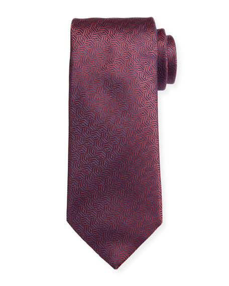 Canali Silk Cable Motif Tie, Burgundy